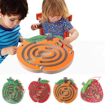 Kids Magnetic Maze Toys Kids Wooden Game Toy Wooden Intellectual Jigsaw Board RI