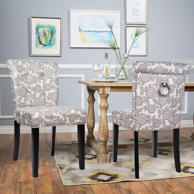 2x Fabric Printed Dining Chairs Kitchen Dining Room Chair Padded Seat High Back