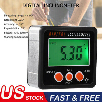US LCD Digital Angle Gauge Protractor Inclinometer Gage Accurate Measuring 4*90°