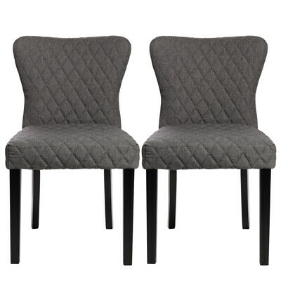 2x Grey Fabric Dining Chairs Dining Room Table Chair Kitchen Furniture Wood Leg