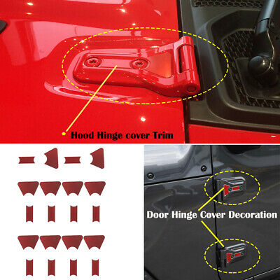 16X For Jeep Wrangler 2018 JL Door Hinge Cover Sticker Decor Decal Trim Red 4-Dr
