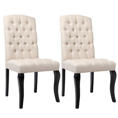 2x Chesterfield Button Fabric Dining Chairs High Back Solid Oak Wood Leg Kitchen