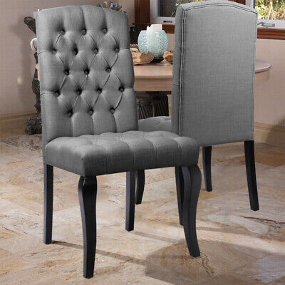 2x Luxury Button Fabric Dining Chairs High Back Chesterfield Style Oak Wood Legs