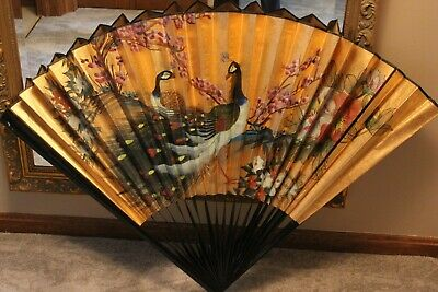 "Oriental Chinese Asian Wall Fan Gold Peacock 36""x 52"" Ebony Wood Beautiful!"