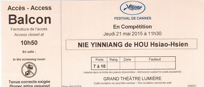 Ticket billet collector THE ASSASSIN de/by HOU Hsiao-Hsien Cannes Film Festival