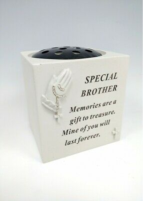 Memorial Brother Praying Hands Rosary Beads Flower Bowl Funeral Graveside