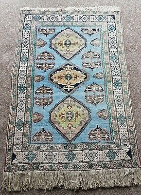 VINTAGE HAND KNOTTED BABY BLUE WOOL RUG  - 180cm x 114cm