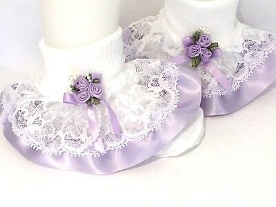 Handmade lilac roses frilly ankle socks baby/girls