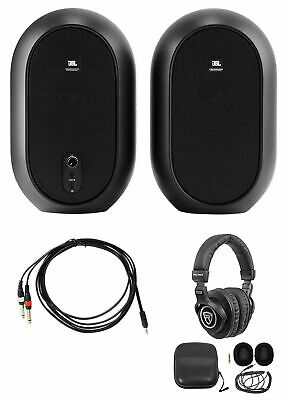 2 JBL One Series 104 Desktop Studio Reference Monitor Speakers+Headphones+Cables