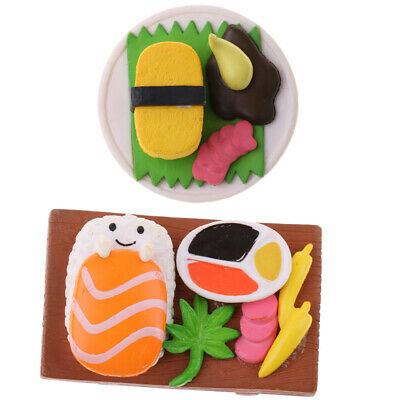 2Pcs Miniature Japanese Food Sushi for Dollhouse Kitchen Decor 1:12 Scale