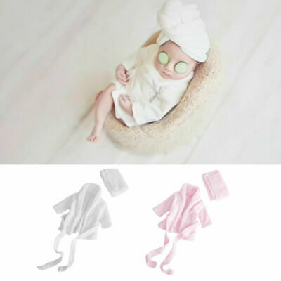 Personalised Newborn Baby Bath Robe Dressing Gown Set Photography Photo Props
