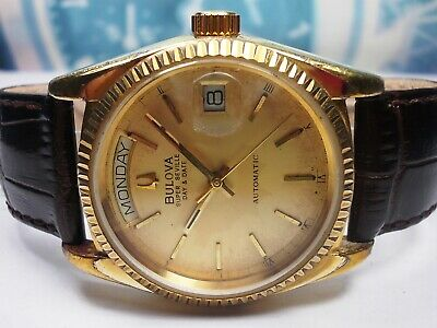 Bulova Super Seville Day & Date Gold Plated Automatic Men's Watch