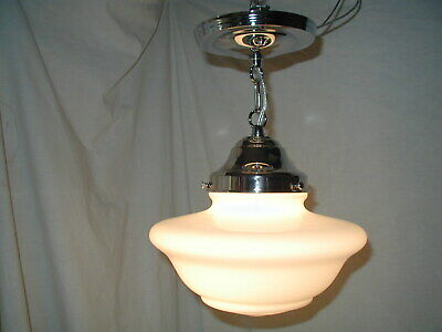 2 Pair Antique Vtg Art Deco 30S Glass Shade Pendant Light Fixture Bath Laundry