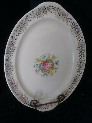 LARGE VINTAGE CHINA PLATTER~FLOWERED WITH GOLD TRIM~TAYLOR SMITH Small Scraches