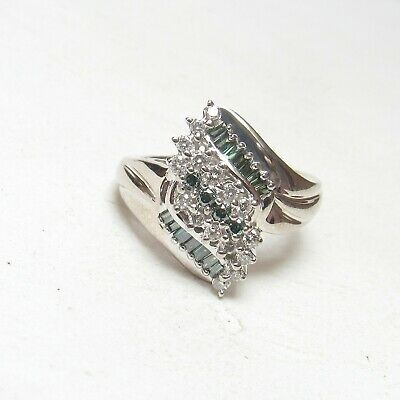 Estate 14K White Gold Baguette And Brilliant Cut Diamond Cluster Ring 0.75 Cts