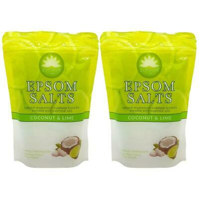 Elysium Spa Epsom Bath Salts Natural Magnesium Sulphate - COCONUT & LIME x 2