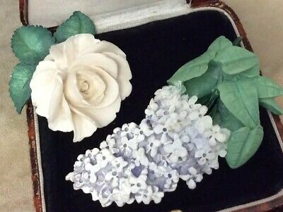 vintage jewellery beautiful Pair Of Brooches Rose & Lilac Flowers