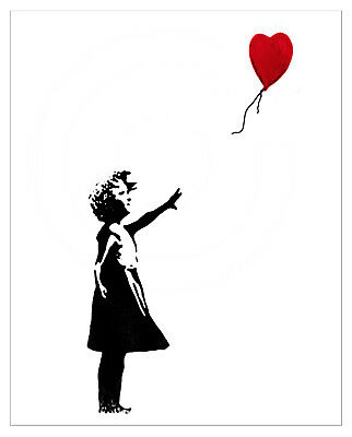 Banksy Balloon Girl 8 x 10 image of the print that self distructed