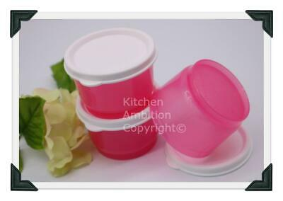 Brand New TUPPERWARE 4 oz. Snack Cups Set/3 Containers W/Seals Pink #A05