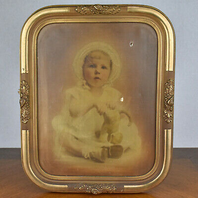 Vintage Antique Gold Painted Wood Composite Picture Frame Rounded Corners 11x14