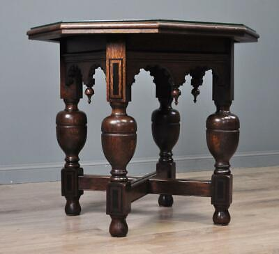 Attractive Antique Carved Oak Occasional Side Hall Window Table, Glass Protector