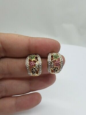 Vintage Sterling Silver Gold Vermeil Earrings With Multi Color Stones
