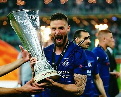 Olivier Giroud Signed 10X8 Chelsea FC Photo With Europa LEAGUE AFTAL COA (1203)