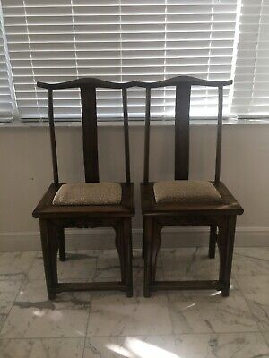 Pair of Antique Chinese High Back Lamp Hanger Side Chairs Removable Pad