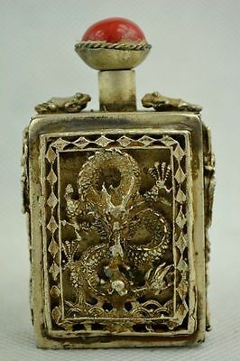 Collectibles Decorated Handwork Tibet- silver Carving Dragon Frog Snuff Bottle