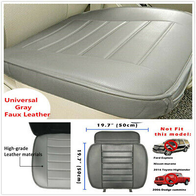 Universal Gray Faux Leather Car Seat Cover Driver Front Cushion w/ Storage Bag