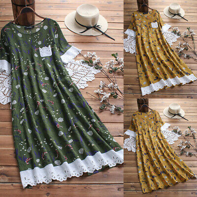 New Women Cotton Linen Maxi Dress Short Sleeve Casual Loose Summer T-shirt M-5XL
