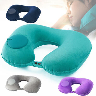 Foldable U-shaped Neck Support Pillow Inflatable Cushion Travel Air Plane DFP