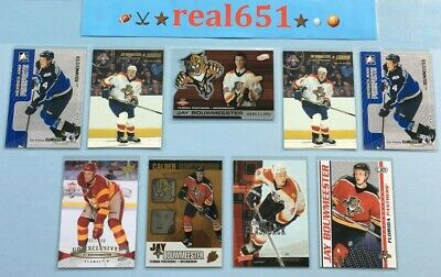 2002+ JAY BOUWMEESTER Rookie-Insert Lot x 9 | Atomic /1300 Exclusives /100 Blues