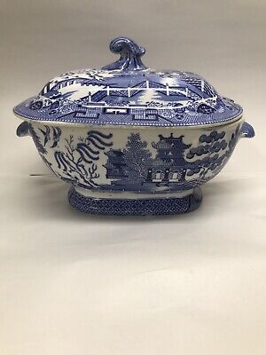 Antique Staffordshire Large Blue Willow Soup Tureen c1850 Anchor Mark
