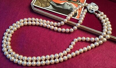 Vintage 50s Classic Double Strand Creamy Glass Pearl Rhinestone Clasp Necklace