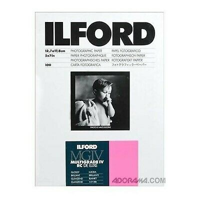 """Ilford Multigrade IV RC Deluxe 5"""" x 7"""" 100 Sheets Glossy Paper"""