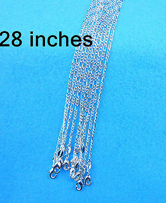 "Wholesale 28"" 10PCS NEW Jewelry 925 Silver Plated Figaro Chain Necklace Pendants"
