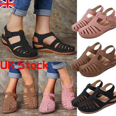 UK Womens Sandals Ladies Gladiator Low Wedge Summer Holiday Beach Shoes Size 4-7
