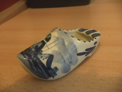 OLD VINTAGE DELFT WARE POTTERY BLUE & WHITE CHINA DUTCH clog ashtray shoe