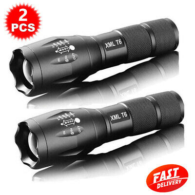 2PCS Military 1000LM XM-L T6 LED Flashlight Rechargeable Zoomable Hunting Torch