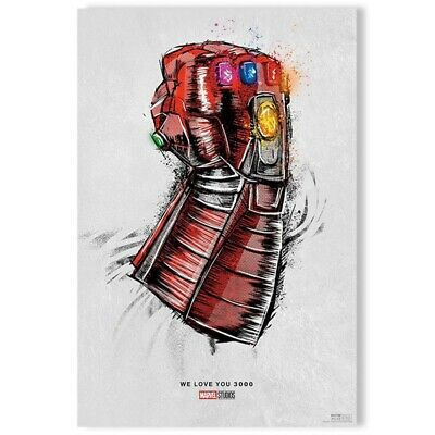 Avengers End Game Re Release Movie Silk Fabric Poster Love You 3000-23.6x17.7''