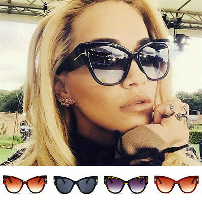 Fashion Men Women Black Cat Eye Sunglasses T Letter Glasses Eyewear Retro Shades