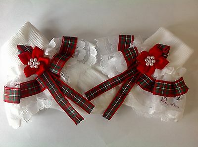 Handmade tartan baby/ girls frilly socks various sizes