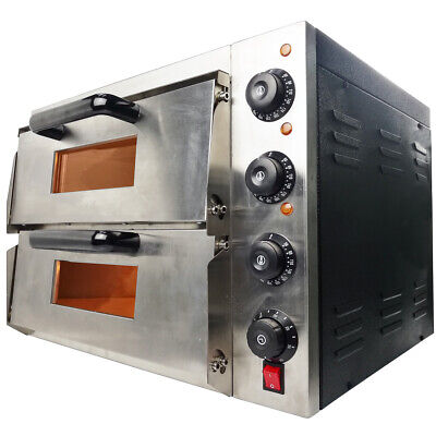 "NEW Commercial Pizza Oven Double Deck Electric 2x16"" Baking Fire Stone Catering"