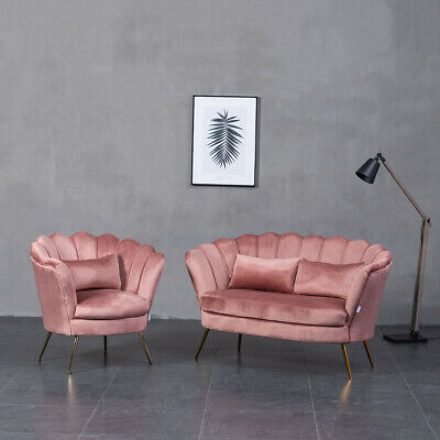 Pink Velvet Armchair Shell Scallop Lotus Tub Chair + 2 Seater Sofa Couch Settee