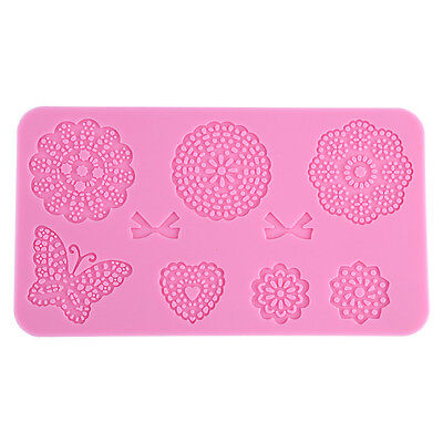 Silicone Flower Butterfly Lace Mat Fondant Sugarcraft Mould Cake Decor Mold
