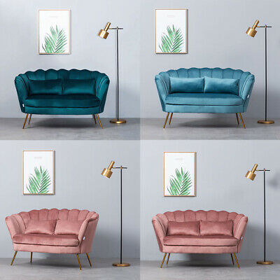 Pink Velvet Fabric 2 Seater Sofa Settee Wave Shell Tub Armchair Livingroom Couch