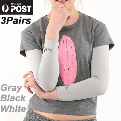 3Pair Cooling Sport Arm Stretch Sleeves Sun UV Protection Covers Golf Cycling AU