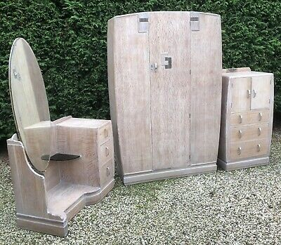 Very Rare Clean Deco Limed Oak 3 Piece Bedroom Suite 2-Man Delivery