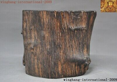 China Old ebony Wood Hand carved Ancient Calligraphy tool brush pot pencil vase